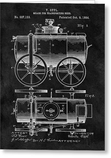 Beer Wagon Patent Greeting Card by Dan Sproul