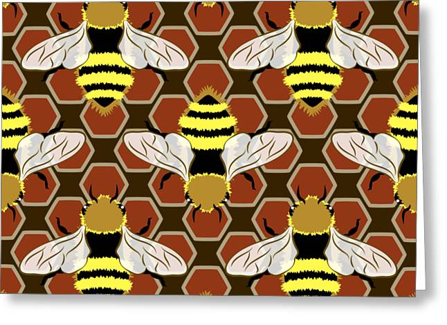Bees And Honeycomb Pattern Greeting Card