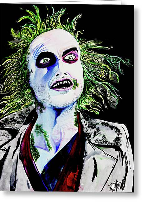 Greeting Card featuring the painting Beetlejuice by eVol i
