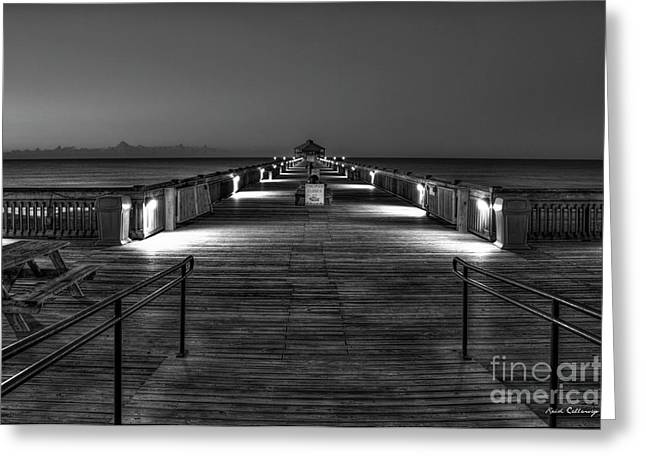 Greeting Card featuring the photograph Before Dawn Folly Beach Pier Charleston Sc Art by Reid Callaway