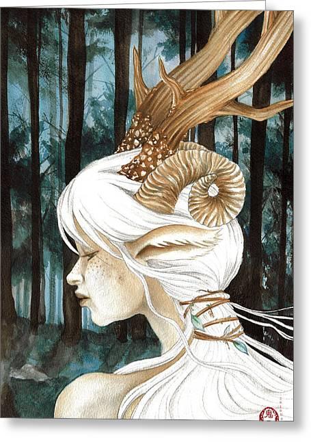 Gaia Drawings Greeting Cards - Before Dawn Greeting Card by Rachel Walker