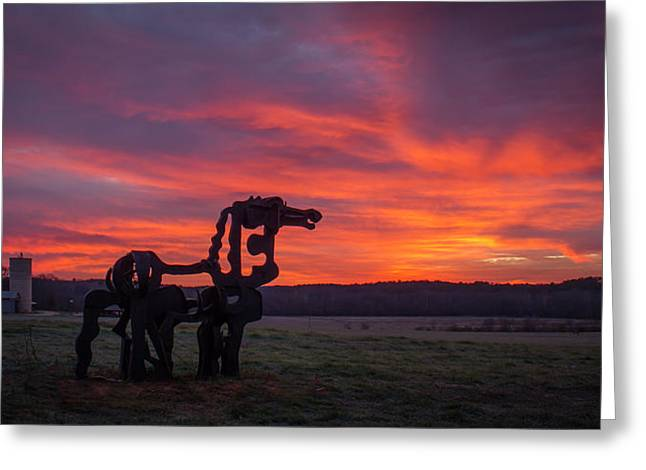 Before Sun Up The Iron Horse Collection Art Greeting Card by Reid Callaway