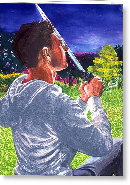 Greeting Card featuring the painting Before The Blade by Rene Capone