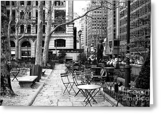 Before The Crowds At Bryant Park Greeting Card by John Rizzuto