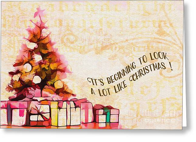 Greeting Card featuring the digital art Beginning To Look Like Christmas Card 2017 by Kathryn Strick
