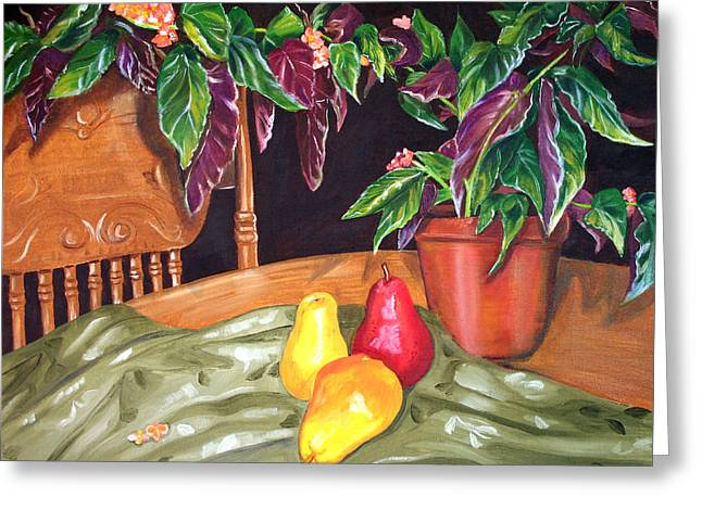 Begonias And Pears Greeting Card by Dorothy Riley