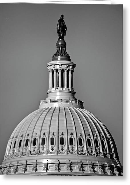 Behind Liberty In Black And White Greeting Card by Chrystal Mimbs