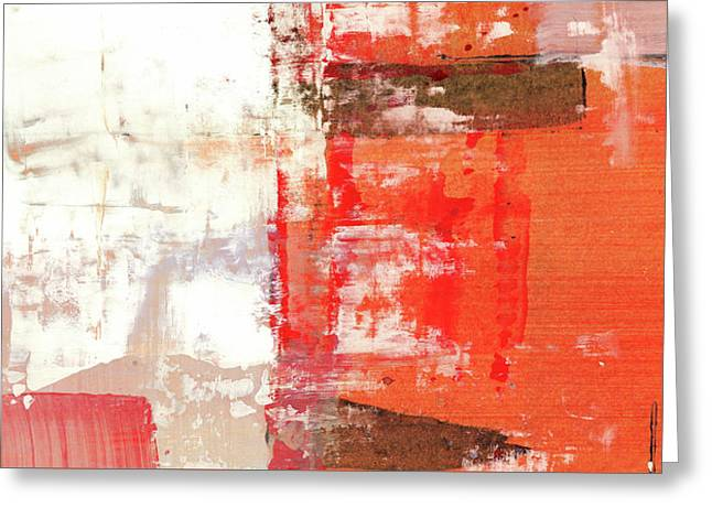 Behind The Corner - Warm Linear Abstract Painting Greeting Card
