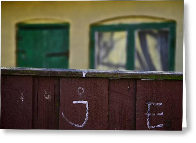 Behind The Fence Greeting Card by Odd Jeppesen