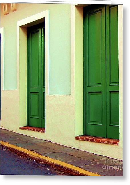 Behind The Green Doors Greeting Card by Debbi Granruth