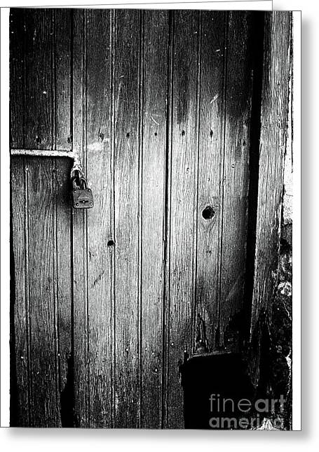 Behind The Locked Door Greeting Card by John Rizzuto