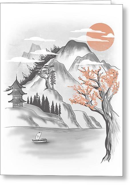Behind The Mountain Greeting Card by Anggrahito Pramono