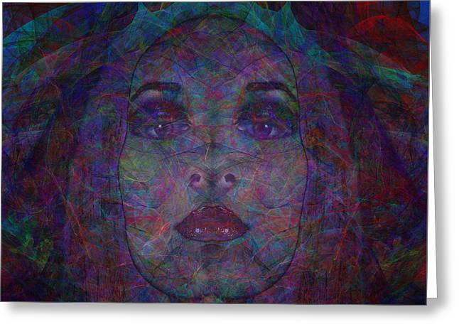 Behind The Veil Greeting Card by Diane Parnell