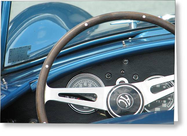 Behind The Wheel Greeting Card by Kelly Mezzapelle