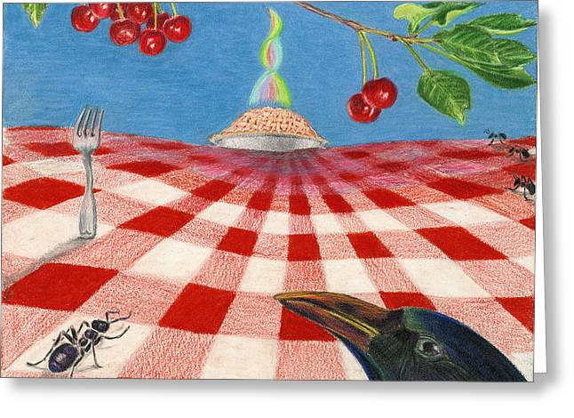 Table Cloth Drawings Greeting Cards - Behold Pie Greeting Card by Bon Vernarelli