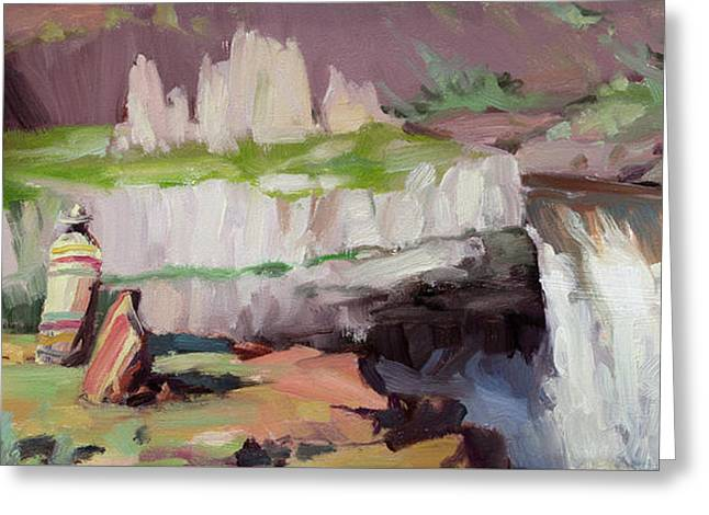 Greeting Card featuring the painting Beholding Palouse Falls by Steve Henderson