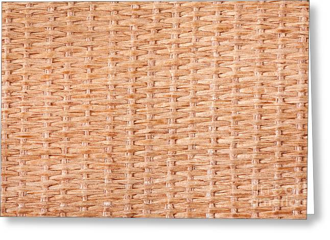 Beige Interlace Wooden Texture Greeting Card by Arletta Cwalina