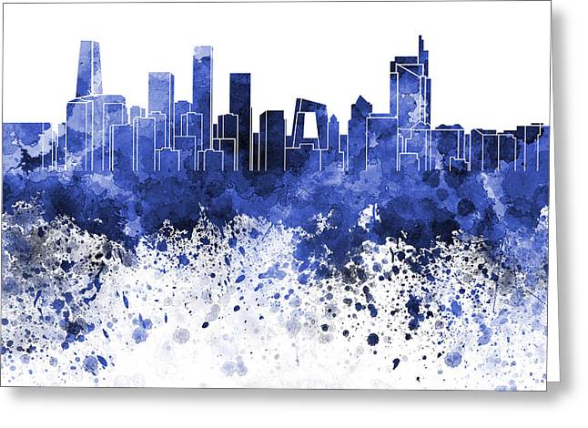 Beijing Skyline In Blue Watercolor On White Background Greeting Card by Pablo Romero