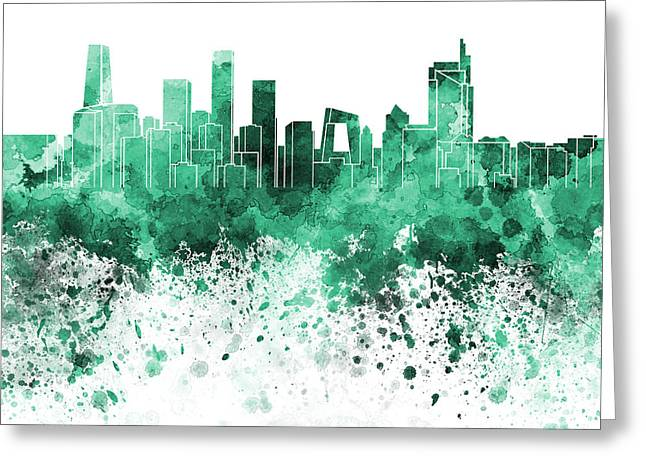 Beijing Skyline In Green Watercolor On White Background Greeting Card by Pablo Romero