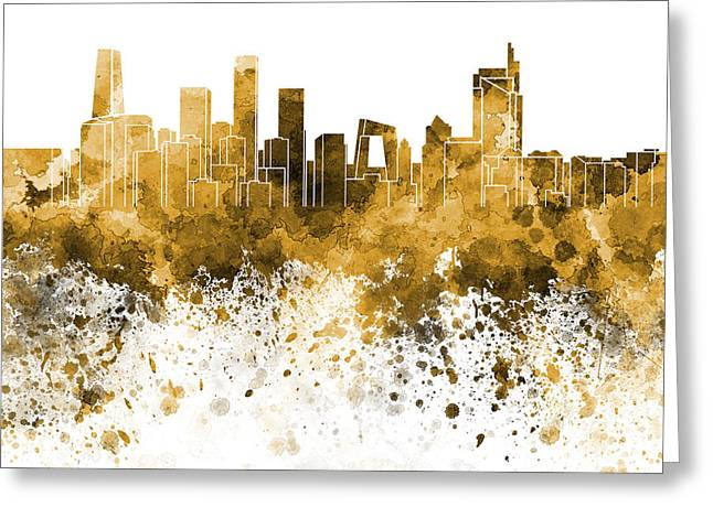 Beijing Skyline In Orange Watercolor On White Background Greeting Card by Pablo Romero
