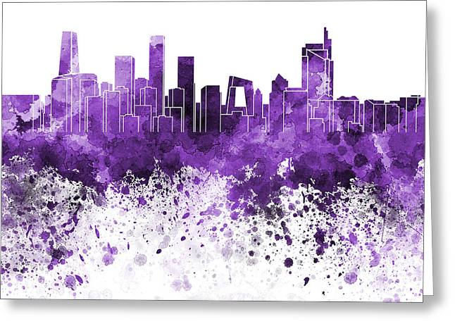 Beijing Skyline In Purple Watercolor On White Background Greeting Card by Pablo Romero