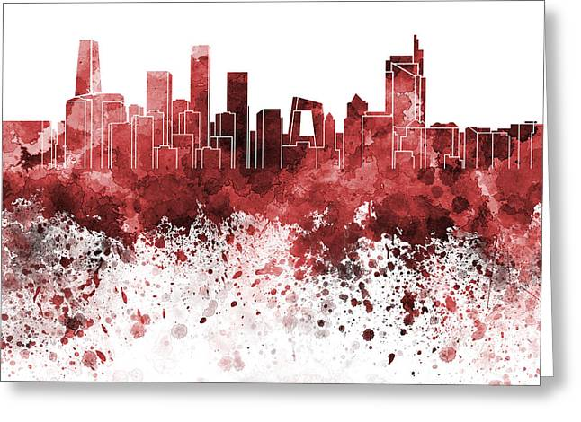 Beijing Skyline In Red Watercolor On White Background Greeting Card by Pablo Romero