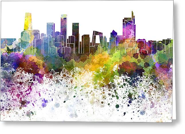 Beijing Skyline In Watercolor On White Background Greeting Card by Pablo Romero