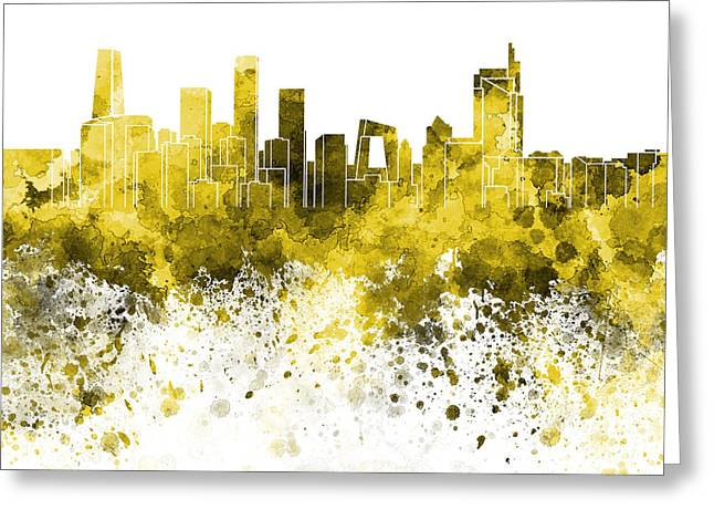Beijing Skyline In Yellow Watercolor On White Background Greeting Card by Pablo Romero
