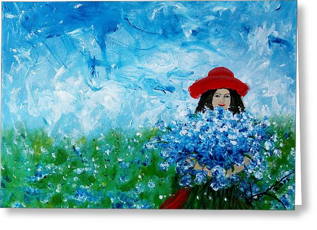 Being A Woman - #3 In A Field Of Bluebonnets Greeting Card