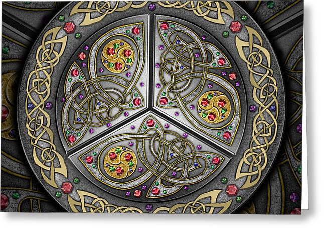Greeting Card featuring the mixed media Bejeweled Celtic Shield by Kristen Fox