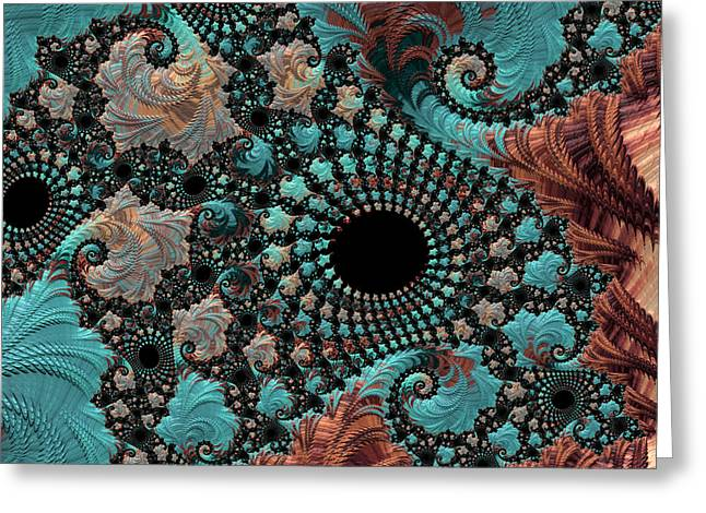 Greeting Card featuring the digital art Bejeweled Fractal by Bonnie Bruno