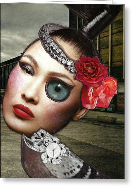 Mixed Media Collage Bejeweled Pigeon Lady Greeting Card by Lisa Noneman