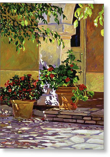 Geranium Greeting Cards - Bel-Air Patio Steps Greeting Card by David Lloyd Glover