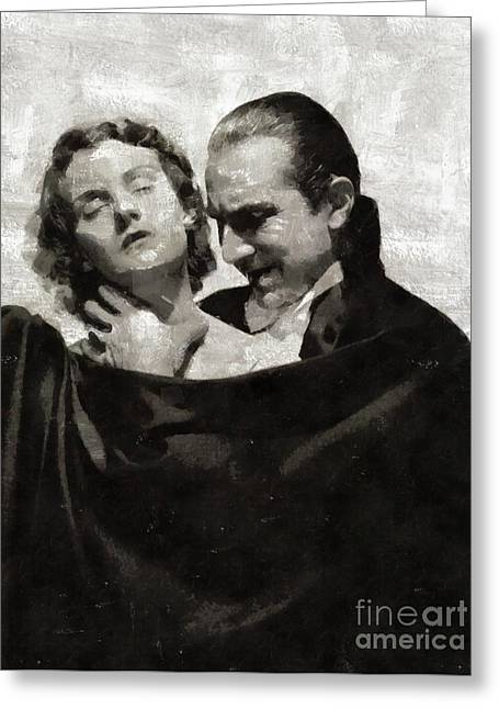 Bela Lugosi And Helen Chandler, Dracula Greeting Card