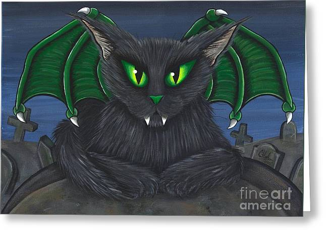 Greeting Card featuring the painting Bela Vampire Cat by Carrie Hawks