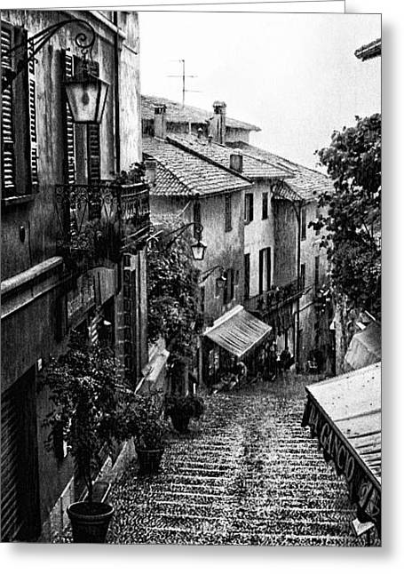 Belagio Italy In The Rain Bw Greeting Card by Marianne Donahoe