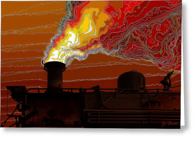 Belching Fire Greeting Card by Joe Bonita