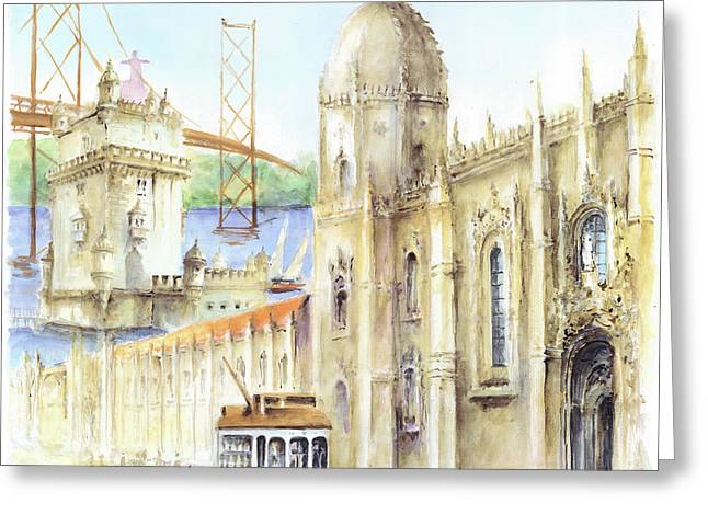 Belem Jeronimos And Belem Tower Lisbon Greeting Card by Elena Petrova Gancheva