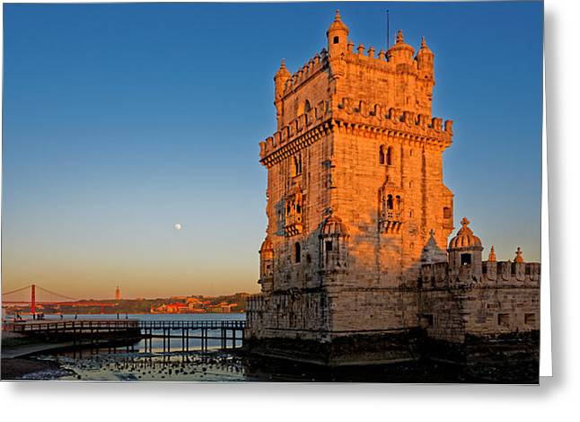 Belem Tower And The Moon Greeting Card