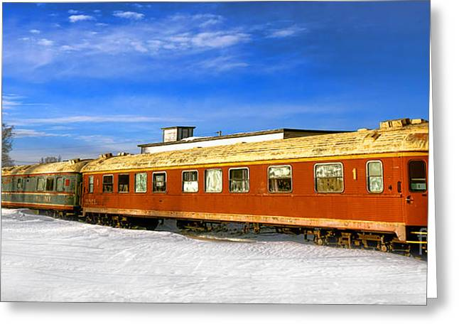 Belfast And Moosehead Railroad Cars In Winter Greeting Card