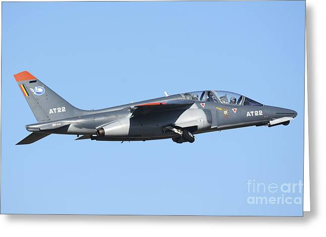 Belgian Air Force Alpha Jet Taking Off Greeting Card by Daniele Faccioli