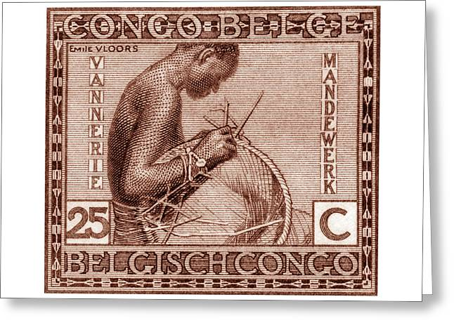 Belgian Congo Woman Weaving Basket Greeting Card