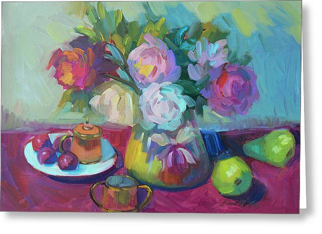 Greeting Card featuring the painting Belgian Creamer And Sugar by Diane McClary