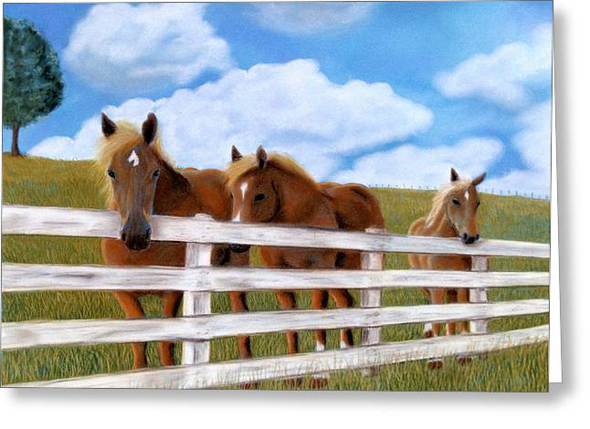 Greeting Card featuring the pastel Belgians At Pasture by Jan Amiss