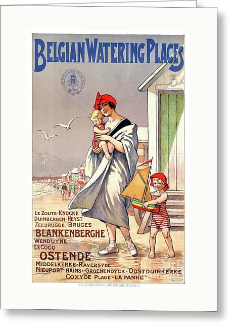 Belgium Ostende Vintage Travel Poster Restored Greeting Card by Carsten Reisinger