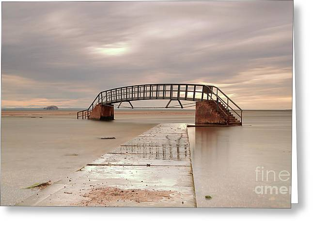 Belhaven Stairs And The Bass At Low Tide Greeting Card