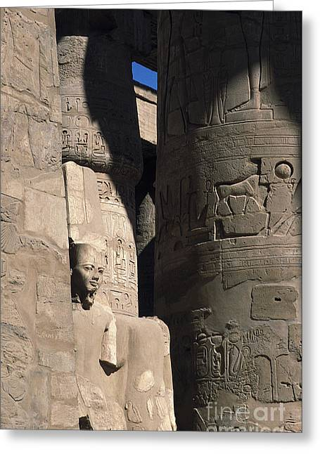 Greeting Card featuring the photograph Belief In The Hereafter - Luxor Karnak Temple by Urft Valley Art
