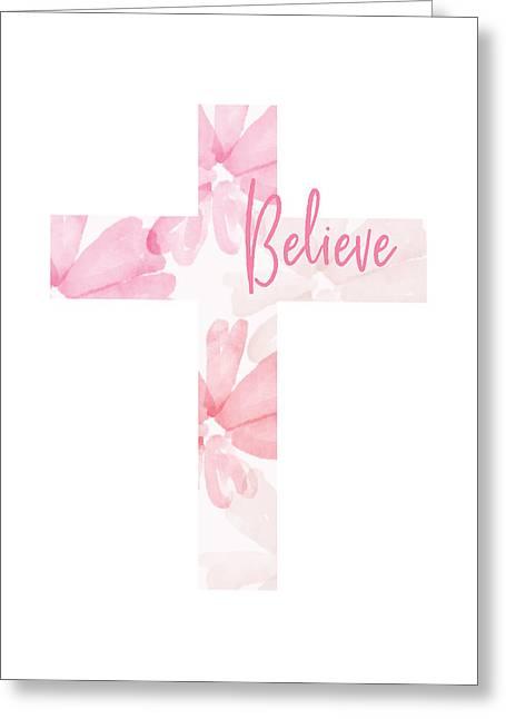 Believe Floral Cross- Art By Linda Woods Greeting Card