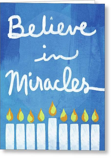 Believe In Miracles- Hanukkah Art By Linda Woods Greeting Card