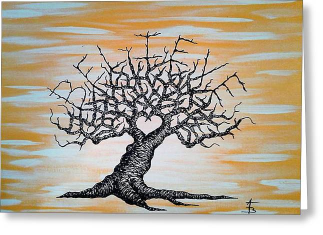 Greeting Card featuring the drawing Believe Love Tree by Aaron Bombalicki